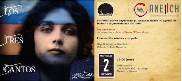 """ANEIICH invita al lanzamiento del libro """"Los Tres Cantos"""" de Teresa Wilms Montt en nuestra sede gremial"""