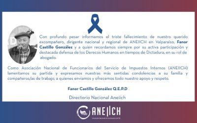 Triste fallecimiento de excompañero y dirigente Fanor Castillo
